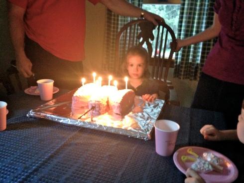 "She really didn't like everyone singing ""Happy Birthday"". :)"